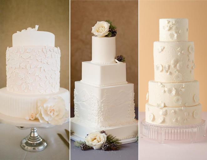 fehér a fehéren esküvői torta