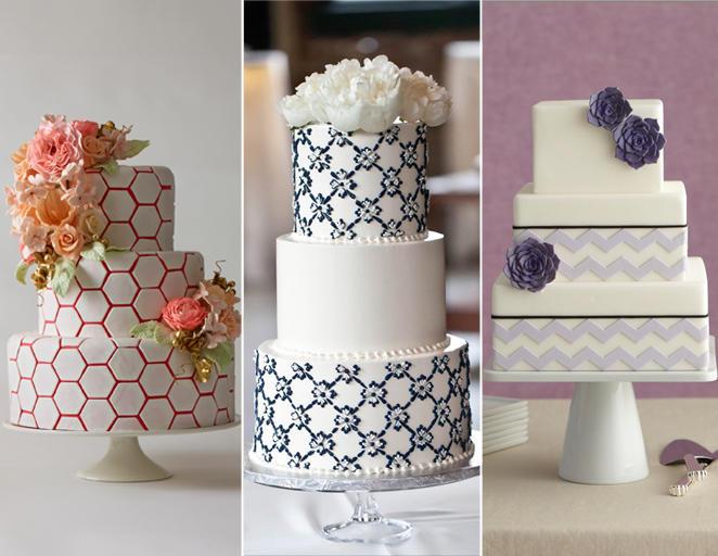 geometriai formás esküvői torta