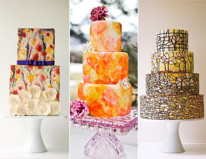 kézzel festett esküvői torta