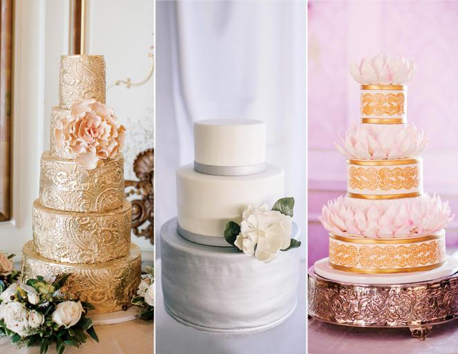 metálos esküvői torta