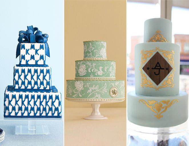 monogramos esküvői torta